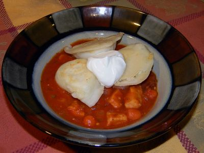 Chicken Stew with Pierogies